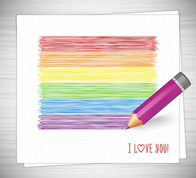 Strisce arcobaleno disegnate con la matita Vettore Premium