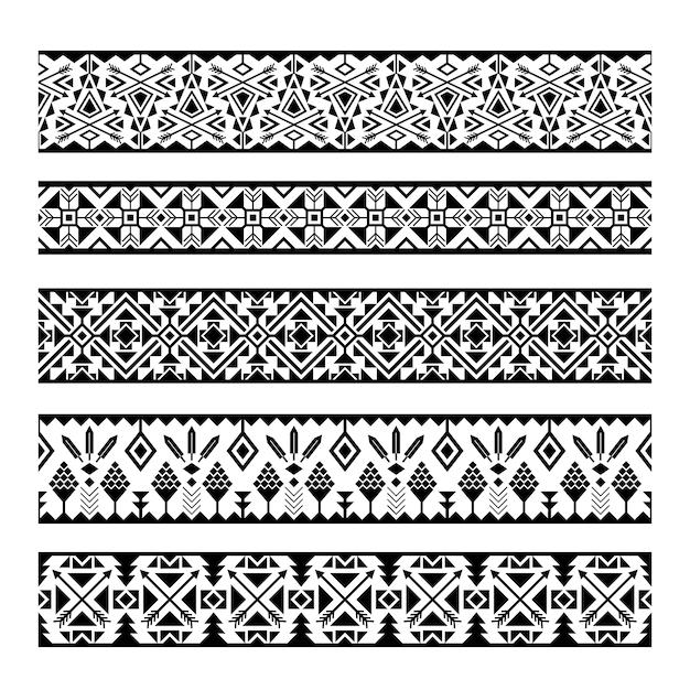 Strisce di motivi etnici. confini senza cuciture geometrici messicani tribali in bianco e nero del modello Vettore Premium