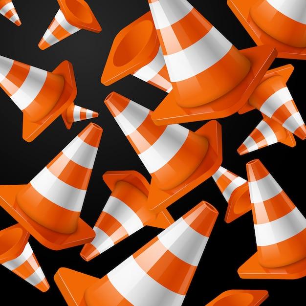 Strisce realistiche e arancioni dei coni della strada di caduta sul nero. Vettore Premium