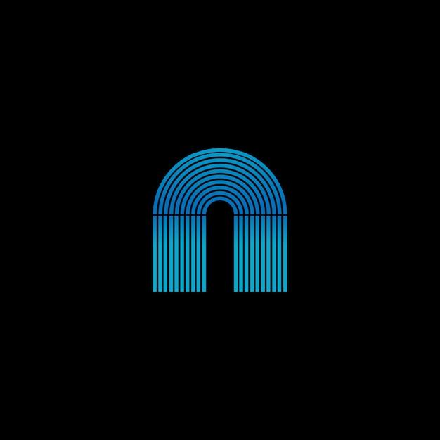Striscia al neon incandescente della scatola del jukebox che forma la lettera a. modello di logo Vettore Premium