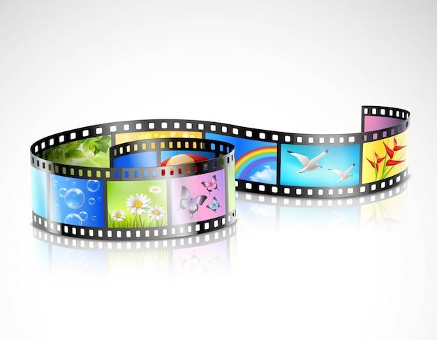 Striscia di pellicola con immagini colorate Vettore gratuito