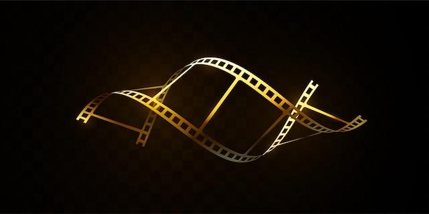 Striscia di pellicola dorata isolata su fondo nero. illustrazione 3d striscia di pellicola a forma di dna. concetto di cinema. Vettore Premium
