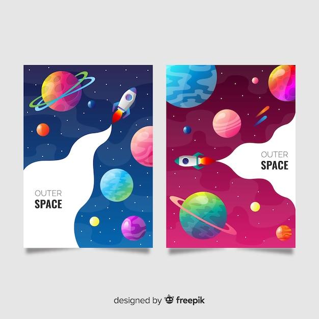 Striscione colorato nello spazio esterno Vettore gratuito