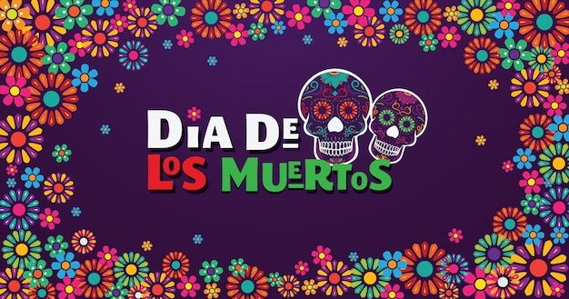 Striscione dia de los muertos, teschio decorato con fiori colorati Vettore Premium