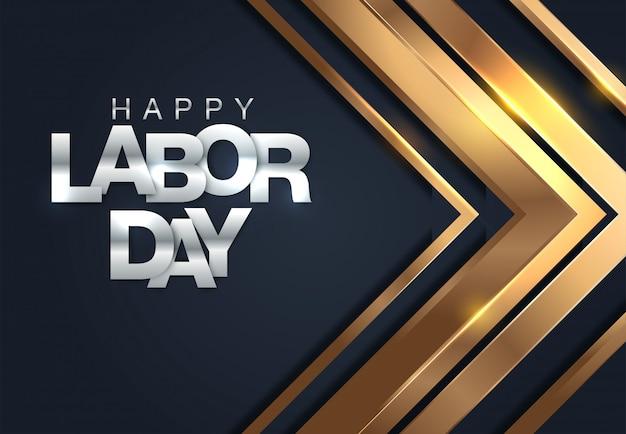 Striscione happy labor day. modello di progettazione illustrazione vettoriale Vettore Premium