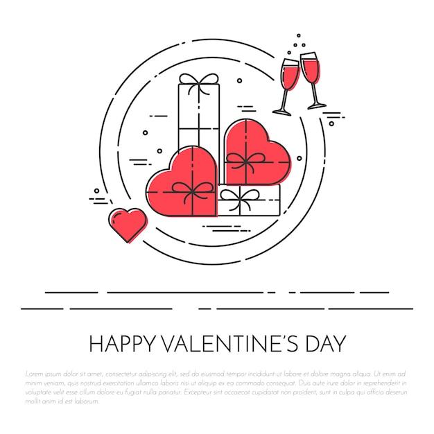 Striscione orizzontale per san valentino e tema della data. Vettore Premium