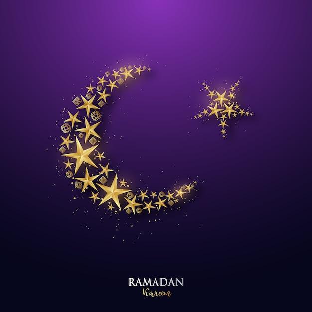 Striscione ramadan kareem con mezzaluna dorata e stelle. Vettore Premium