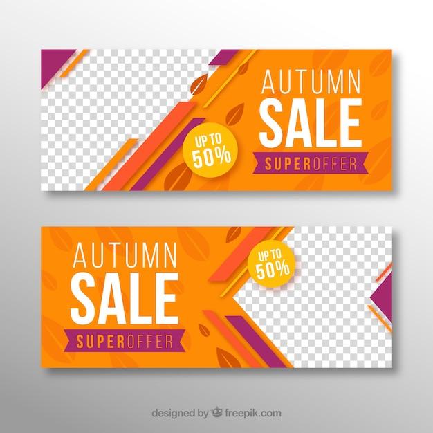 Striscioni colorati autunno vendita Vettore gratuito