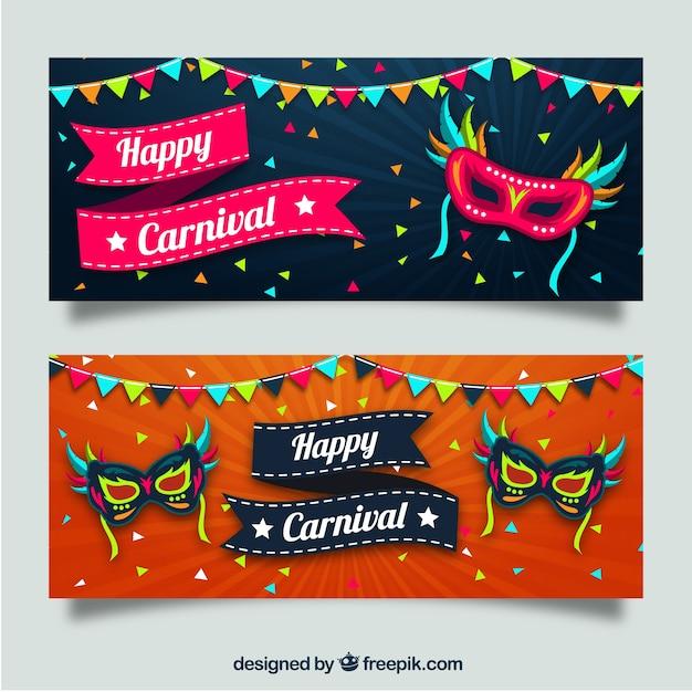 Striscioni colorati con le maschere e ghirlande Vettore gratuito