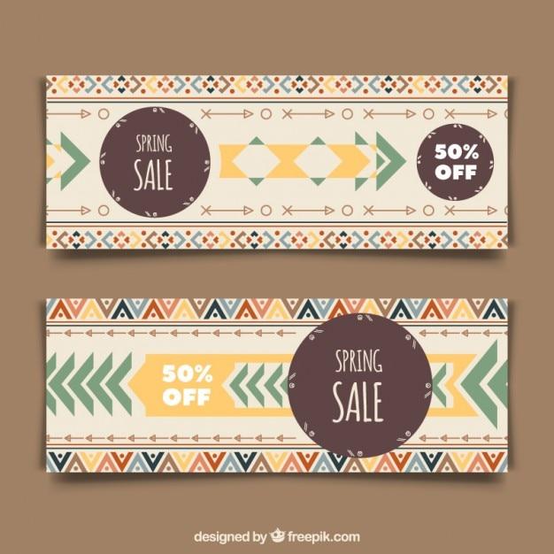 Striscioni colorati etnici Vettore gratuito