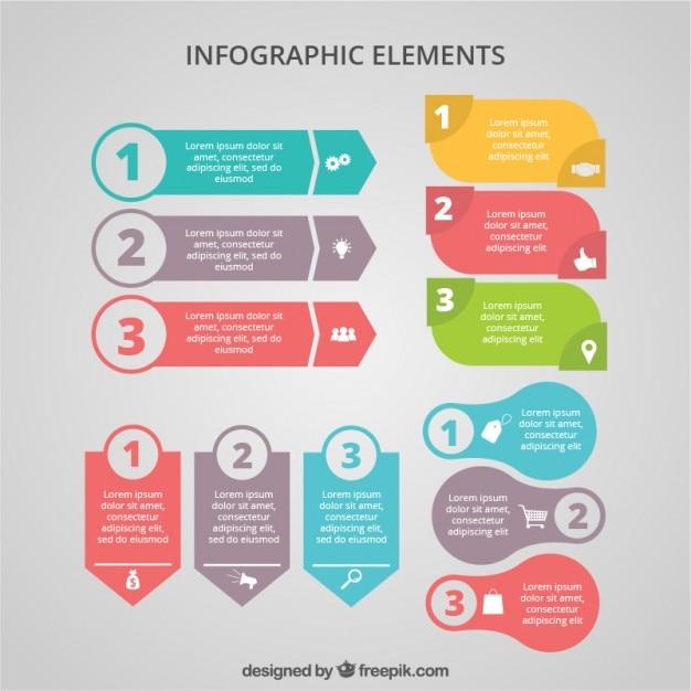 Striscioni colorati infografica Vettore Premium