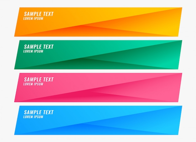 Striscioni colorati luminosi impostati con lo spazio del testo Vettore gratuito