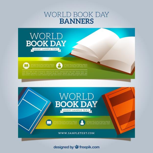 Striscioni con diversi libri Vettore gratuito