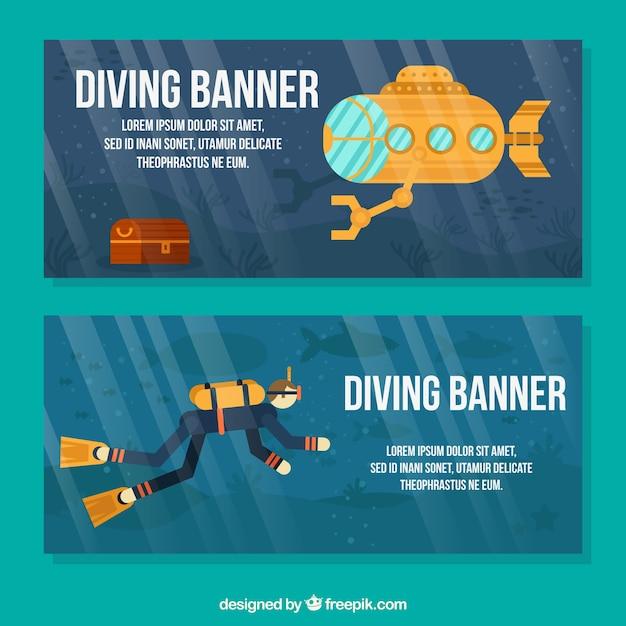 Striscioni con un subacqueo e sottomarino giallo Vettore gratuito
