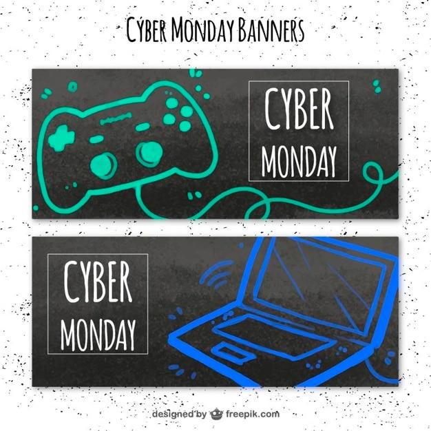 Striscioni cyber lunedì con un computer portatile e un controller per videogiochi Vettore gratuito
