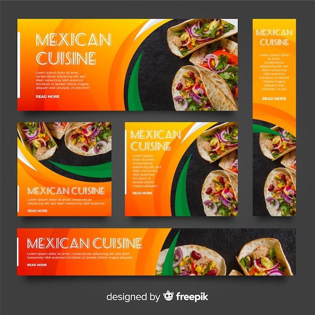 Striscioni di cibo messicano con foto Vettore gratuito