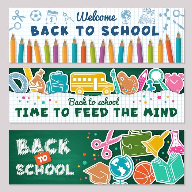 Striscioni di scuola. illustrazioni per tornare a striscioni della scuola Vettore Premium
