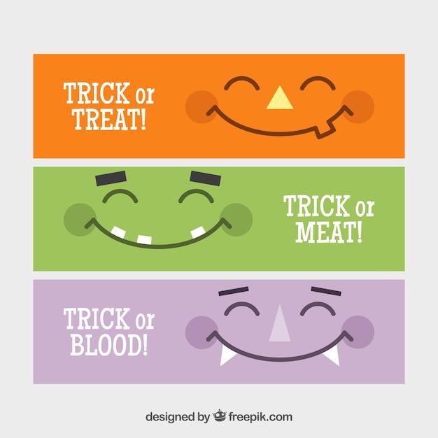Striscioni Minimalista Con Sorrisi Mostri Scaricare Vettori Gratis