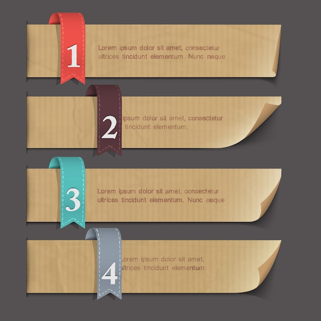 Striscioni numerati su carta Vettore Premium