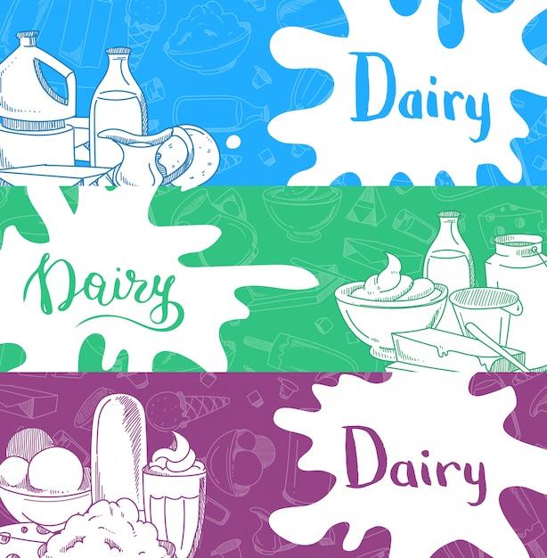 Striscioni orizzontali con scritte e latticini disegnati a mano, spruzzi di latte Vettore Premium