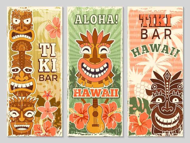 Striscioni retrò hawaii. festa di ballo di avventura estiva di turismo di aloha nelle illustrazioni delle maschere tribali della barra di tiki Vettore Premium