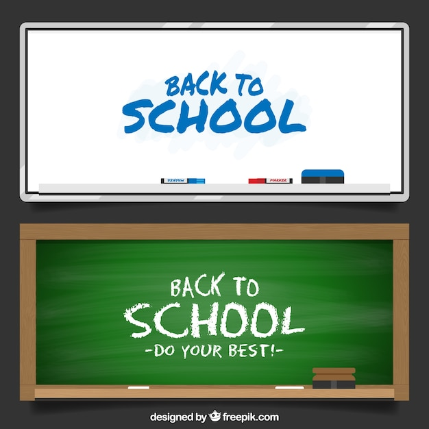 Striscioni scuola lavagna Vettore gratuito