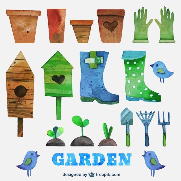Strumenti acquerello giardinaggio Vettore gratuito