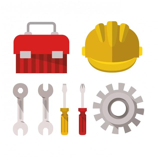 Strumenti di costruzione impostare elementi Vettore Premium