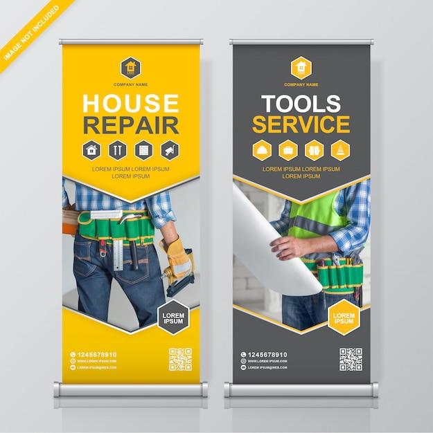 Strumenti di costruzione roll up e modello di progettazione banner in piedi Vettore Premium