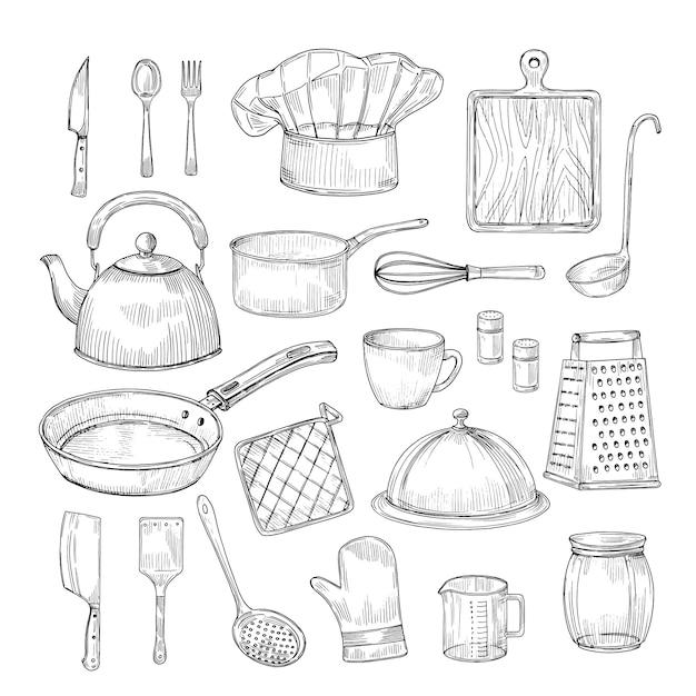 Strumenti di cottura disegnati a mano. raccolta d'annata di vettore di schizzo degli utensili dell'articolo da cucina dell'attrezzatura della cucina Vettore Premium