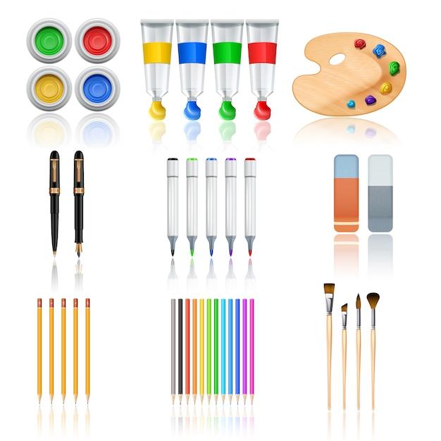 Strumenti di disegno e pittura Vettore gratuito