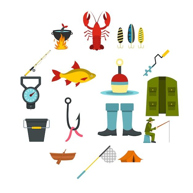 Strumenti di pesca set icone piatte Vettore Premium