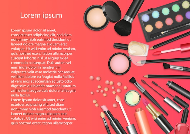 Strumenti di trucco cosmetici di bellezza Vettore Premium