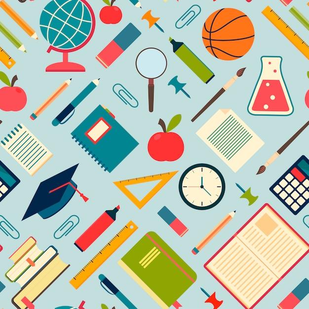 Strumenti e rifornimenti della scuola su una priorità bassa blu Vettore Premium