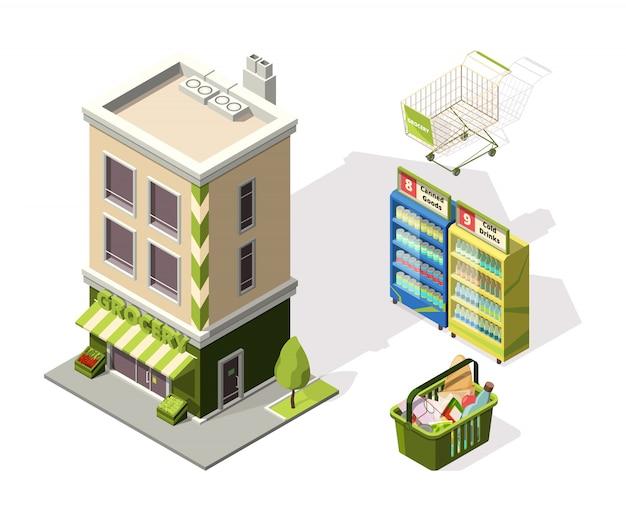 Strumenti isometrici per supermercato. illustrazioni 3d del carrello Vettore Premium