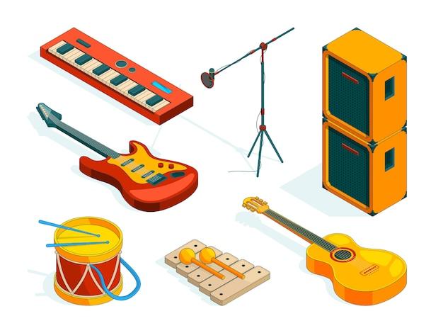 Strumenti musicali isometrici. immagini strumenti di musicisti Vettore Premium