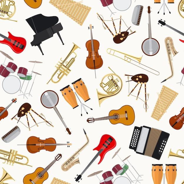 Strumenti musicali jazz su sfondo bianco Vettore Premium