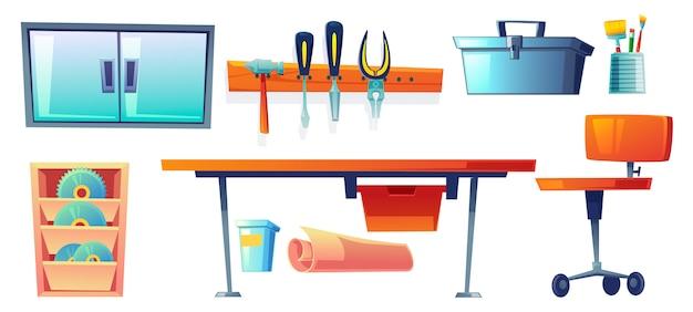 Strumenti per garage, strumenti per lavori di carpenteria Vettore gratuito