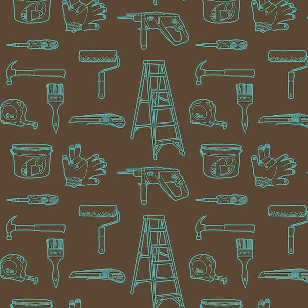 Strumenti per la riparazione a casa. seamless pattern Vettore gratuito