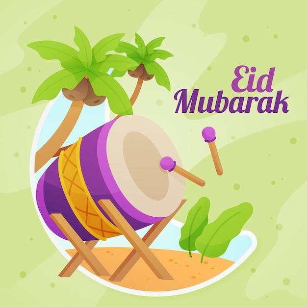 Strumento a percussione musicale esotico eid mubarak Vettore gratuito