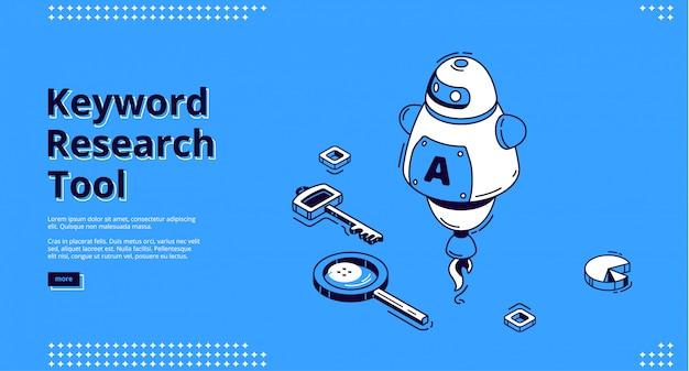 Strumento di ricerca di parole chiave con icone isometriche Vettore gratuito