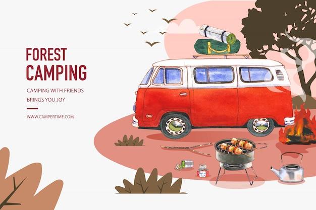 Struttura del fondo del campeggio con le illustrazioni in scatola dell'alimento, della tenda e del bollitore. Vettore gratuito