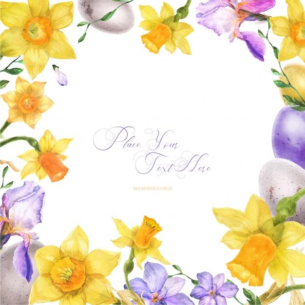 Struttura dell'acquerello di pasqua con i fiori e le uova della molla Vettore Premium