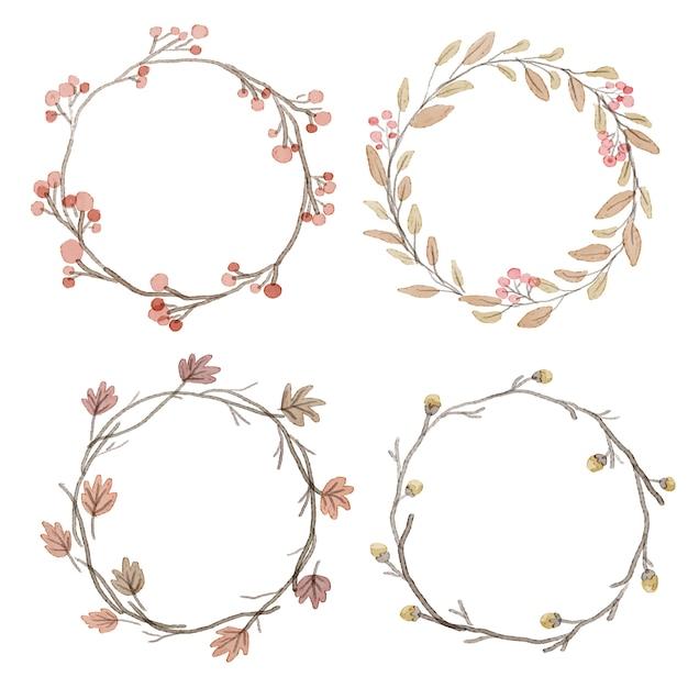 Struttura della corona delle foglie del fiore di autunno dell'acquerello Vettore Premium