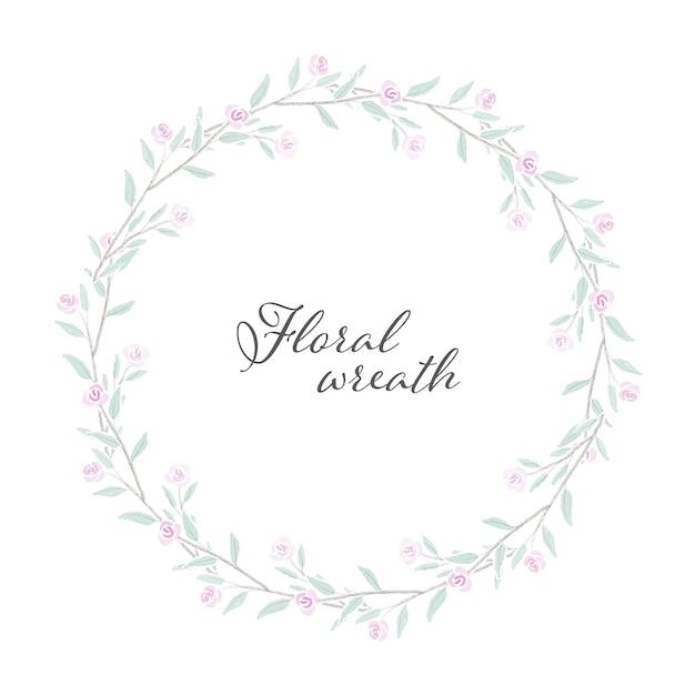Struttura di corona di rose dell'acquerello rosa minuscola dolce Vettore Premium