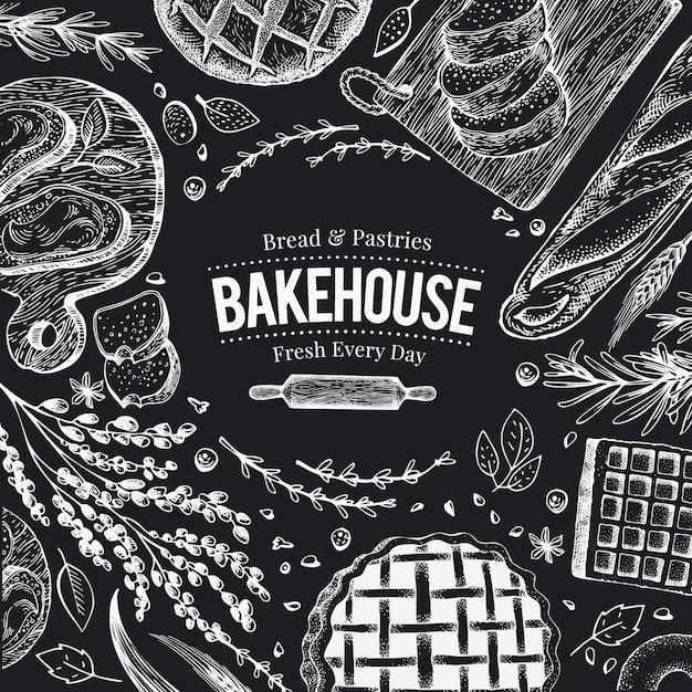Struttura di vista superiore del forno sulla lavagna. illustrazione vettoriale disegnato a mano con pane e pasticceria Vettore Premium
