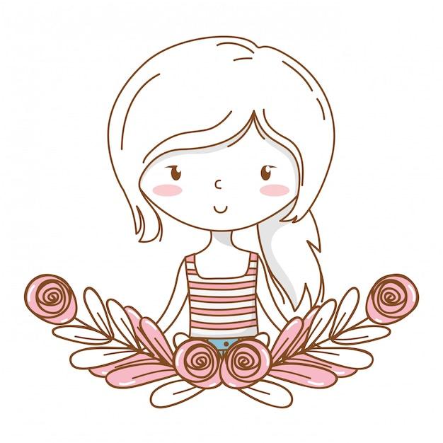 Struttura floreale della corona del ritratto dell'attrezzatura alla moda del fumetto sveglio della ragazza Vettore Premium