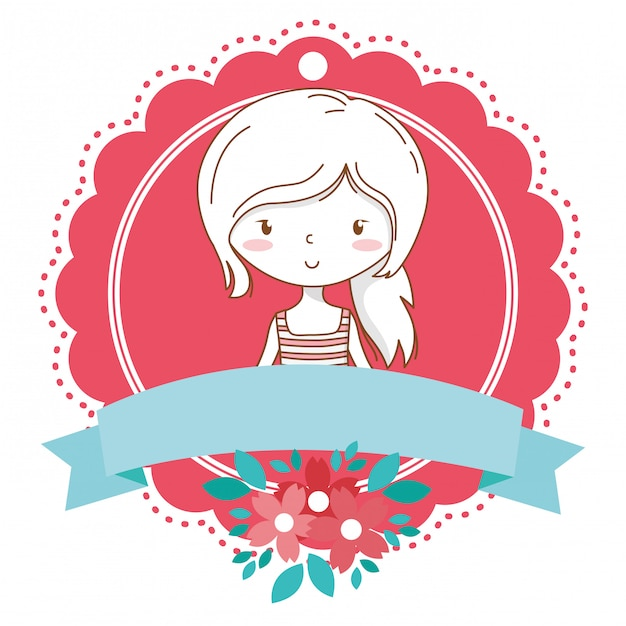 Struttura floreale della fioritura del ritratto alla moda dell'attrezzatura del fumetto sveglio della ragazza Vettore Premium