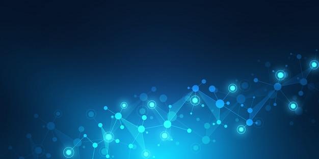 Struttura geometrica astratta con strutture molecolari e rete neurale. Vettore Premium
