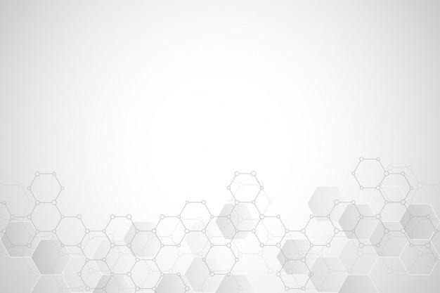Struttura geometrica del fondo con strutture molecolari e composti chimici Vettore Premium